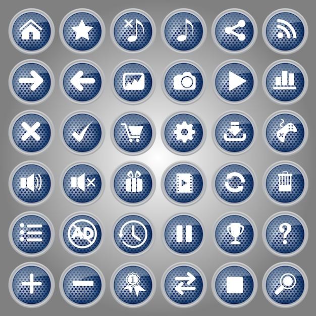 Blauwe knoppen icon set design stijl metaal voor web en game. Premium Vector