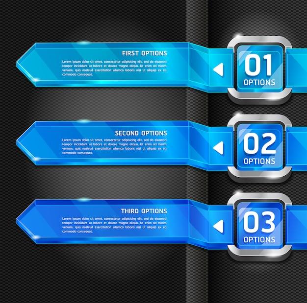 Blauwe knoppen website stijl nummer opties banner & kaart achtergrond. Premium Vector
