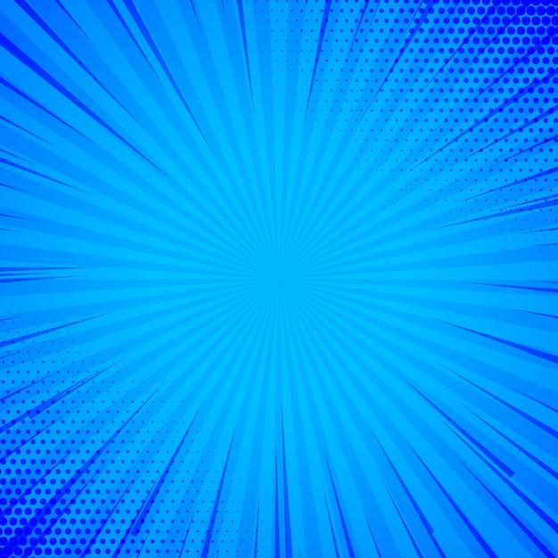 Blauwe komische achtergrond met lijnen en halftone Gratis Vector