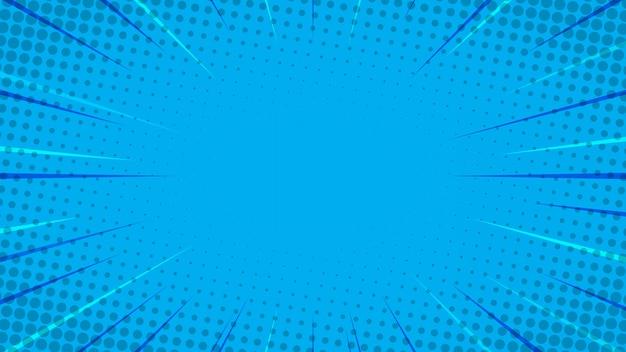 Blauwe komische stijl achtergrond Premium Vector