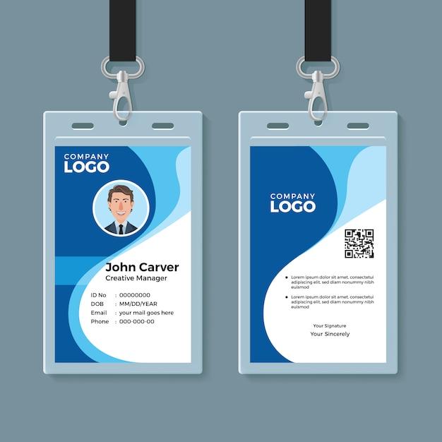 Blauwe kromme wave id-kaart ontwerpsjabloon Premium Vector