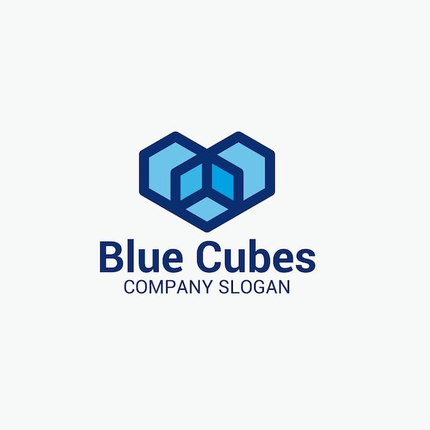 Blauwe kubussen logo Premium Vector
