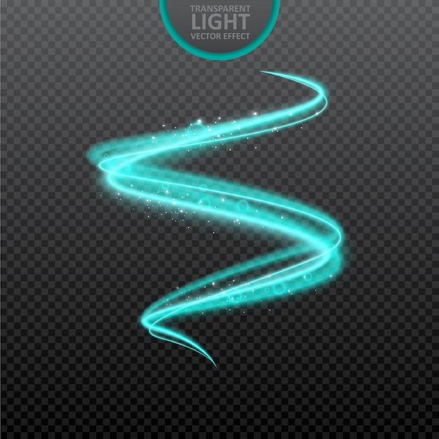 Blauwe lichteffect transparante achtergrond met realistische fonkelingen. Premium Vector