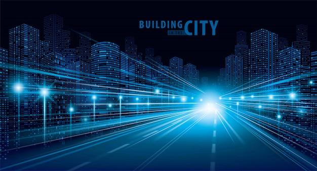 Blauwe lichtslepen op de weg en moderne de bouwvector Premium Vector