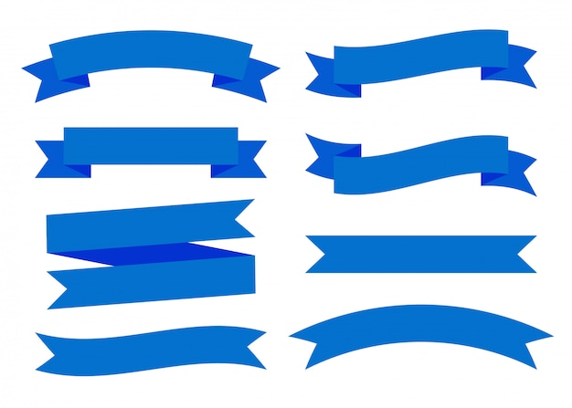 Blauwe linten banners plat geïsoleerd instellen Premium Vector