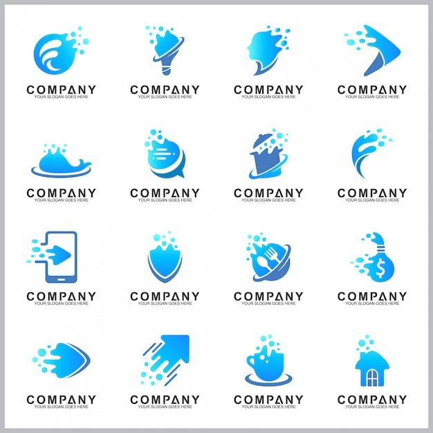 Blauwe logo-collectie Premium Vector