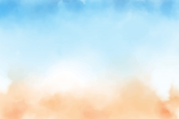 Blauwe lucht en zandstrand achtergrond Premium Vector