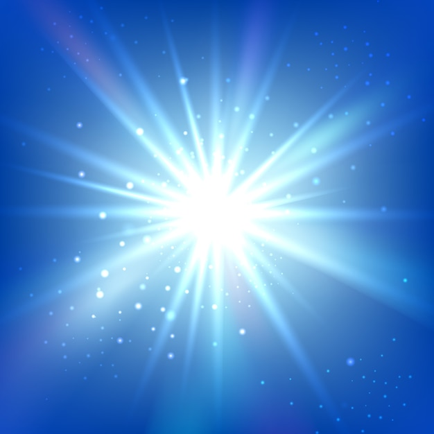 Blauwe lucht met heldere flits of burst. abstracte vector achtergrond. stralende ster Gratis Vector