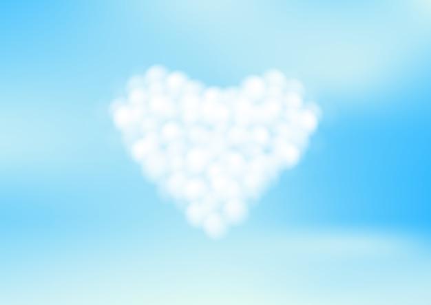 Blauwe lucht met witte hartwolken. vector illustratie Premium Vector