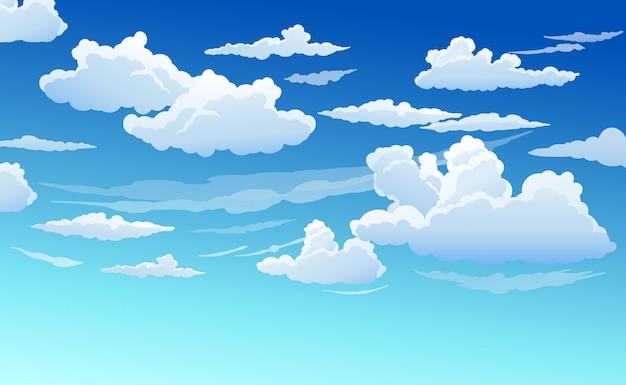 Blauwe lucht met witte wolken helder zonnige dag Premium Vector