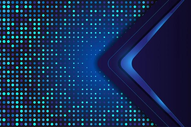 Blauwe luxeachtergrond met halftone en technologievorm Premium Vector