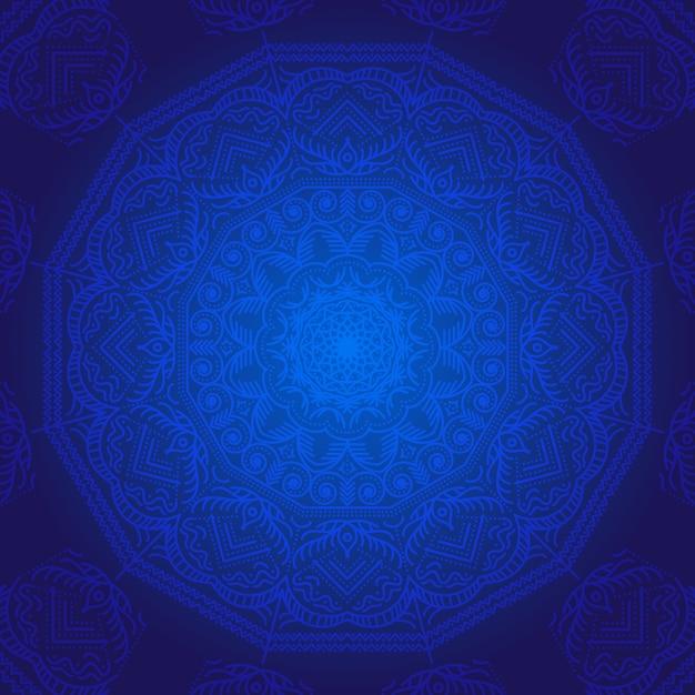 Blauwe mandala achtergrond Gratis Vector