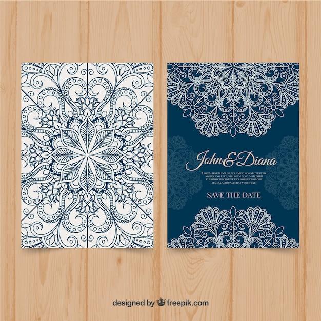 Blauwe mandala bruiloft uitnodiging Gratis Vector