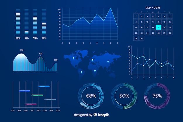 Blauwe marketing grafieken ontwerpsjabloon Gratis Vector