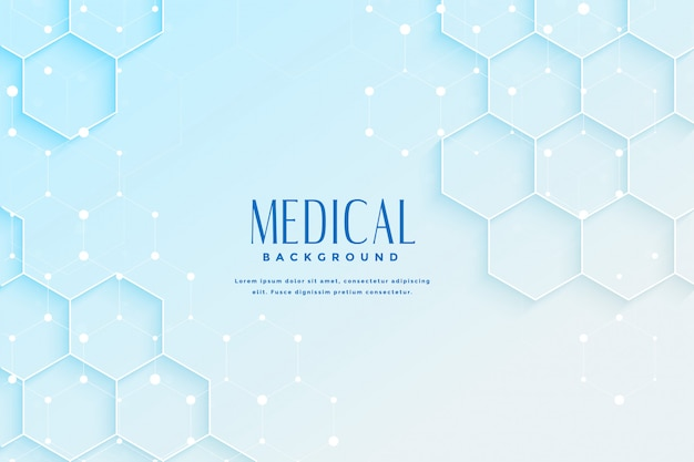 Blauwe medische achtergrond met zeshoekig vormontwerp Gratis Vector
