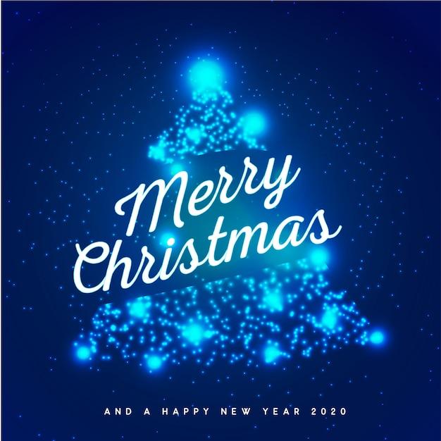 Blauwe merry christmas-achtergrond Premium Vector
