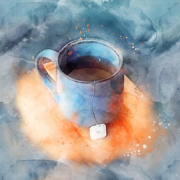 Blauwe mok hete thee staande op een houten bord, aquarel. Premium Vector