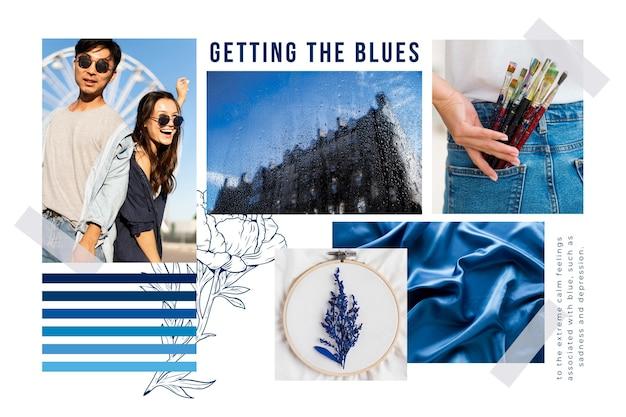 Blauwe moodboard collage Gratis Vector