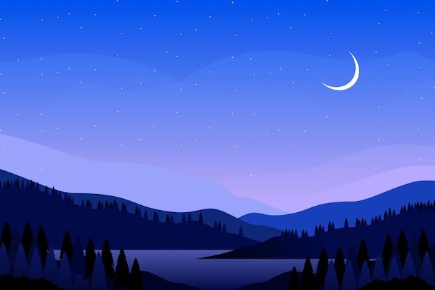 Blauwe nachthemel met de illustratie van het berglandschap Premium Vector