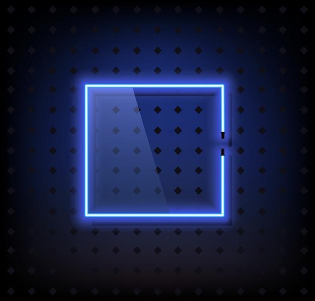 Blauwe neonframe lampvector met glas Premium Vector