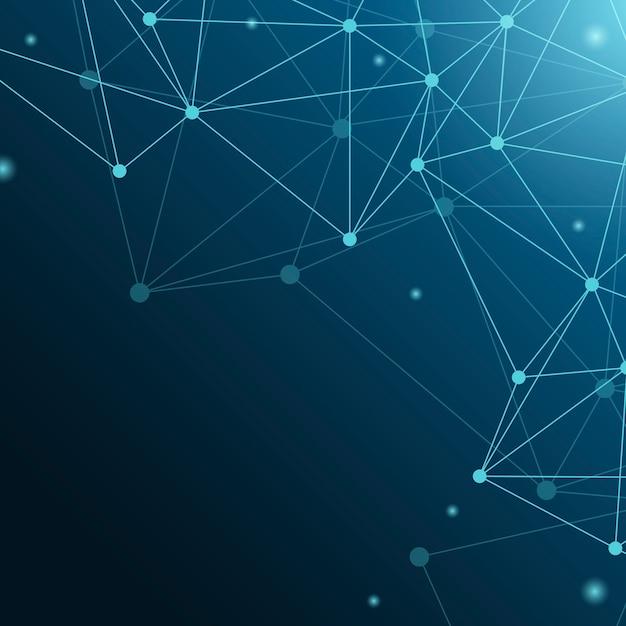 Blauwe neurale netwerkillustratie Gratis Vector