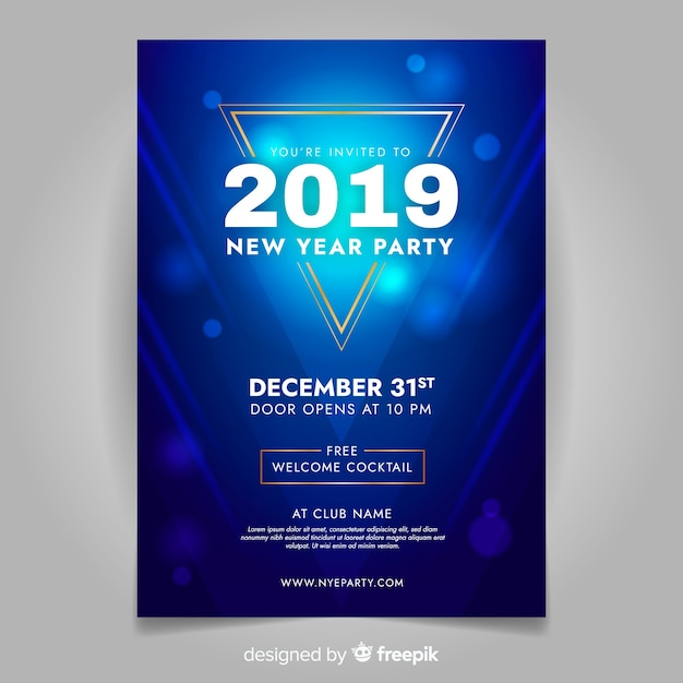 Blauwe nieuwe jaar 2019 partijbanner Gratis Vector