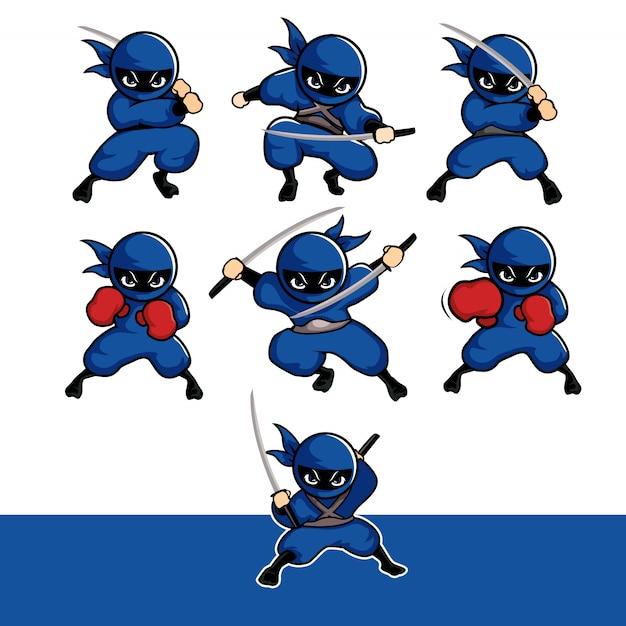 Blauwe ninja cartoon sets met zwaard en bokshandschoenen Premium Vector