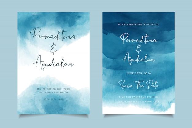 Blauwe oceaan aquarel bruiloft uitnodiging ontwerp Premium Vector
