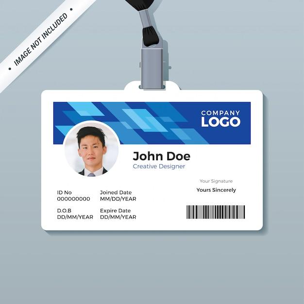 Blauwe office id badge ontwerpsjabloon Premium Vector