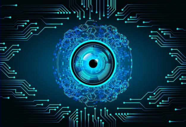 Blauwe oog binaire cyber circuit toekomstige technologie concept achtergrond Premium Vector