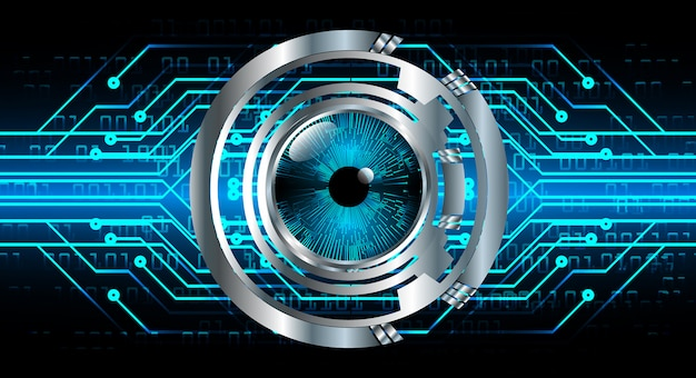 Blauwe oog cyber circuit toekomstige technologie banner achtergrond Premium Vector
