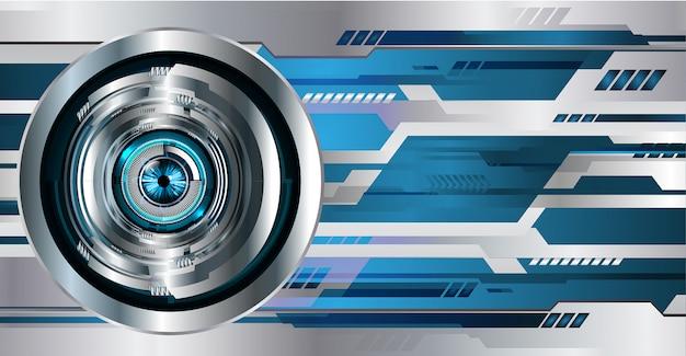 Blauwe oog cyber circuit toekomstige technologie concept achtergrond Premium Vector