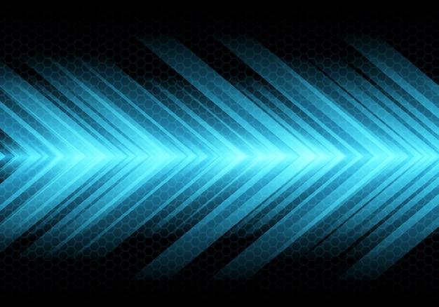 Blauwe pijl lichte snelheid op donkere zeshoek mesh achtergrond. Premium Vector
