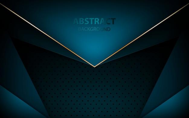 Blauwe pijl overlapping laag op donkerblauwe achtergrond Premium Vector
