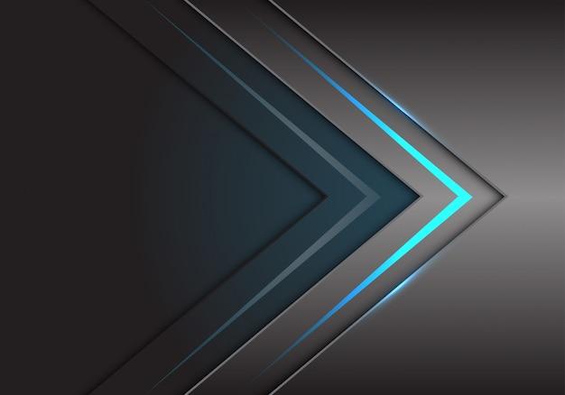 Blauwe pijllichtrichting op grijze metaaltechnologie. Premium Vector