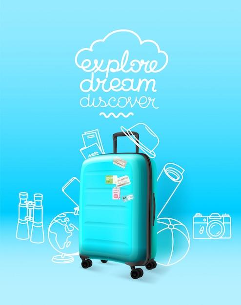 Blauwe plastic koffer op blauwe achtergrond. onderzoek droom ontdek Premium Vector