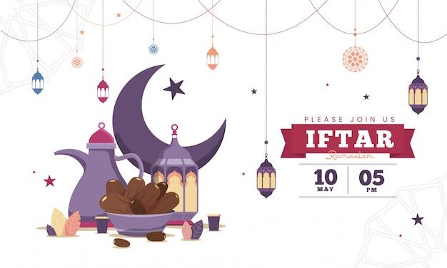 Blauwe platte ontwerp iftar partij viering flyer concept illustratie. sweet dates, fanous lantern en arabische koffiemok. islamitische heilige maand, ramadan kareem. typografiesjabloon voor tekst Premium Vector
