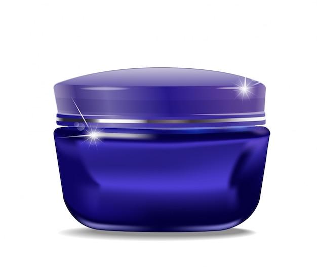 Blauwe pot met cosmetische crème Premium Vector