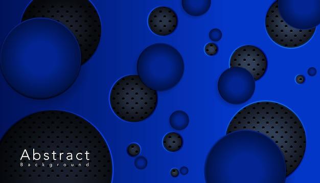 Blauwe ronde vorm overlapt metalen rooster Gratis Vector