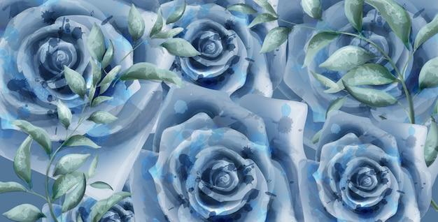 Blauwe rozen aquarel banner Premium Vector