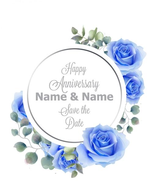 Blauwe rozen bloemen aquarel ronde frame kaart Premium Vector