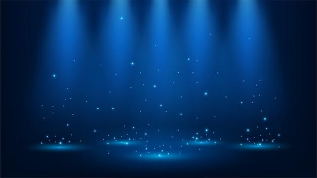 Blauwe schijnwerpers met glitters Premium Vector