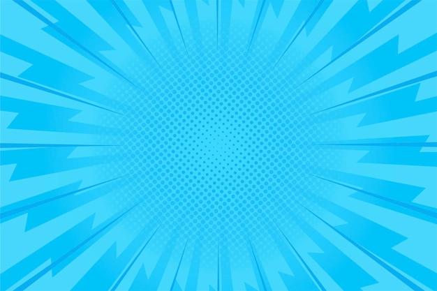Blauwe snelheid komische stijl achtergrond Gratis Vector
