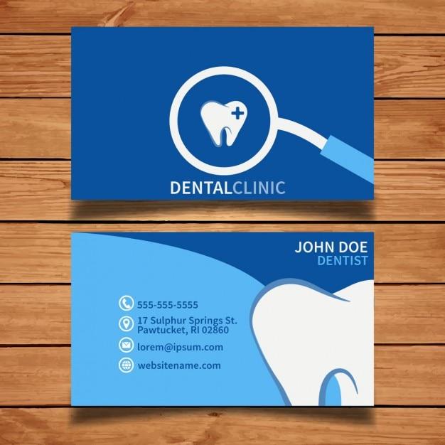 Blauwe tand adreskaartje Gratis Vector