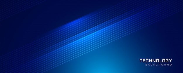Blauwe technologie gloeiende lijnen achtergrond Gratis Vector
