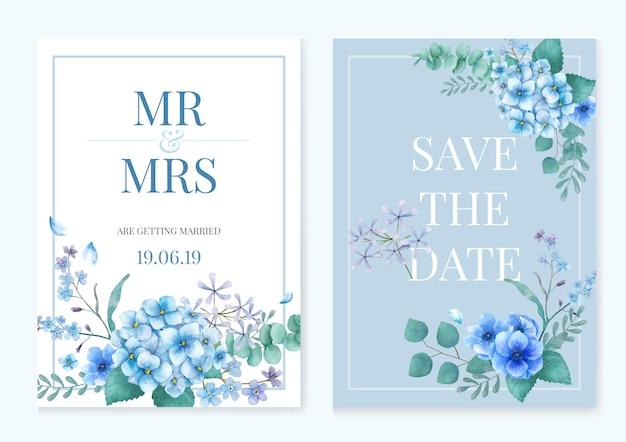 Blauwe thema-wenskaart met florals Gratis Vector