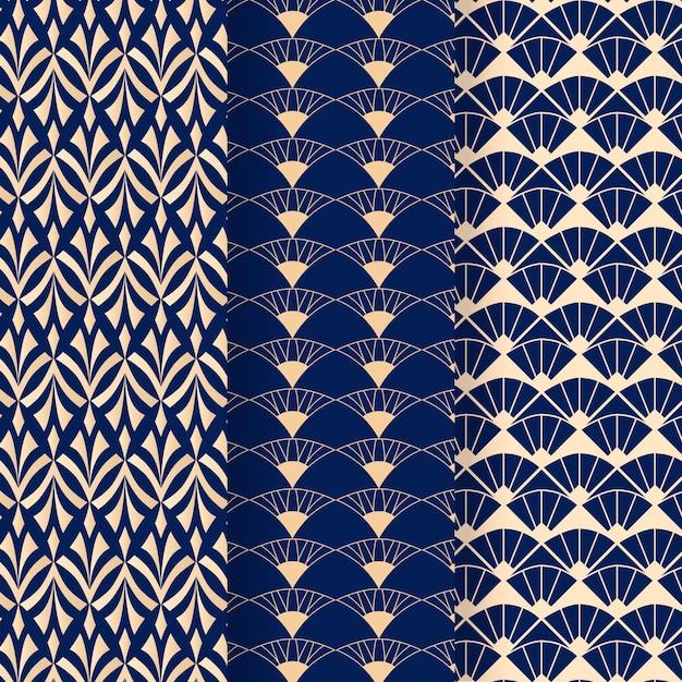 Blauwe tinten van art deco naadloos patroon Gratis Vector