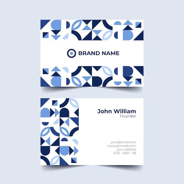 Blauwe tonen van geometrisch vormenvisitekaartje Gratis Vector