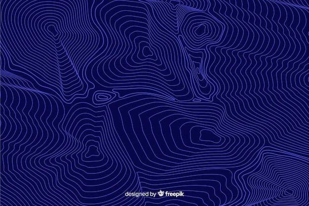 Blauwe topografische lijnenachtergrond Gratis Vector