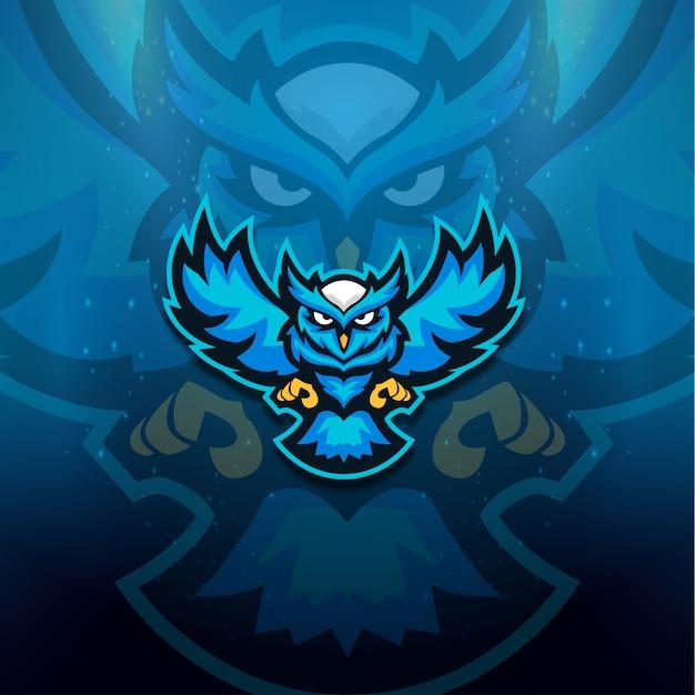 Blauwe uil logo esport Premium Vector
